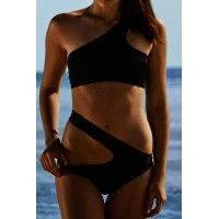 Alluring One-Shoulder Solid Color Bikini Set For Women black