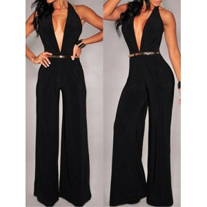 Alluring Plunging Neck Sleeveless Solid Color Loose-Fitting Jumpsuit For Women black