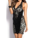 Alluring Plunging Neck Sleeveless Spliced Ruffled Dress For Women black