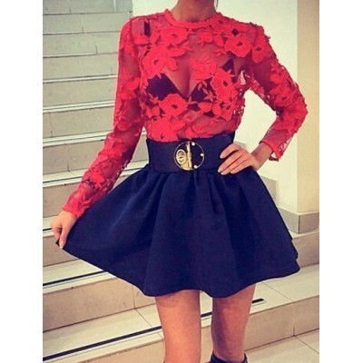 Alluring Round Collar Long Sleeve See-Through Spliced Dress For Women red