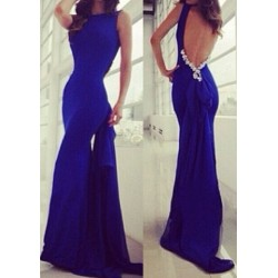 Alluring Round Collar Sleeveless Backless Bowknot Embellished Dress For Women blue