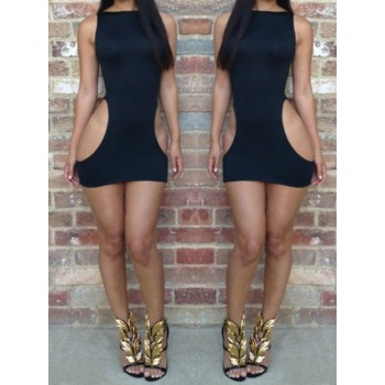 Alluring Round Neck Sleeveless Solid Color Hollow Out Dress For Women black white