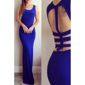 Alluring Scoop Neck Sleeveless Solid Color Hollow Out Dress For Women blue