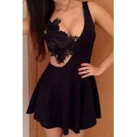 Alluring Sleeveless Plunging Neck Backless Solid Color Dress For Women black white
