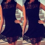 Alluring Sleeveless Round Neck Spliced Hollow Out Dress For Women black