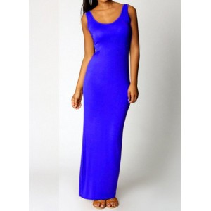 Brief Scoop Collar Sleeveless Solid Color Sundress For Women