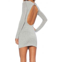 Brief Scoop Neck Long Sleeve Backless Solid Color Dress For Women gray