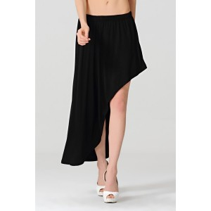 Casual Elastic Waist Solid Color Asymmetrical Skirt For Women black