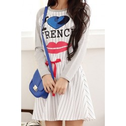 Casual Round Neck Long Sleeve Striped Printed Dress For Women gray