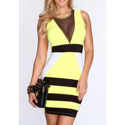 Color Block Voile Splicing Bodycon Sexy Round Neck Sleeveless Women's Dress black