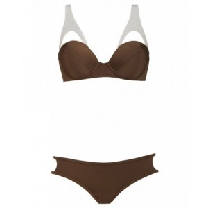 Color Splicing Two-Piece Sexy Swimsuit For Women brown