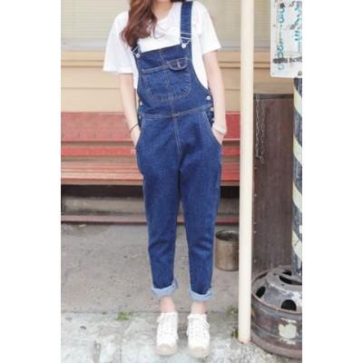 Cute Women's Button Fly Dark Blue Denim Overalls