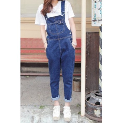 latest trends of 2019 wide selection best online Cute Women's Button Fly Dark Blue Denim Overalls