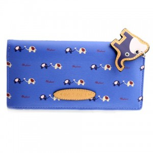 Cute Women's Clutch Wallet With Elephant Pendant and Color Block Design blue