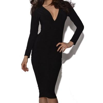 Elegant Women's Plunging Neckline Solid Color Long Sleeve Bodycon Dress black
