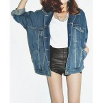 Fashionable Loose-Fitting Turn-Down Collar Long Sleeve Pocket Single-Breasted Denim Women's Coat blue