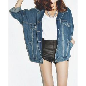 Fashionable Loose-Fitting Turn-Down Collar Long Sleeve Pocket Single-Breasted Denim Women's Coat blue