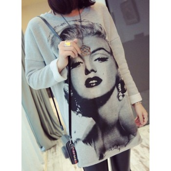 Fashionable Round Collar Long Sleeve Loose-Fitting Sweatshirt For Women marilyn monroe gray