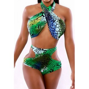Fashionable Women's Halter Print High-Waisted Hollow Out Bikini Set green