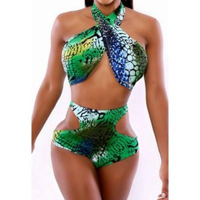 Fashionable Women's Halter Print High-Waisted Hollow Out Bikini Set green