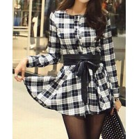 Fashionable Women's Jewel Neck Plaid Long Sleeve Dress checker