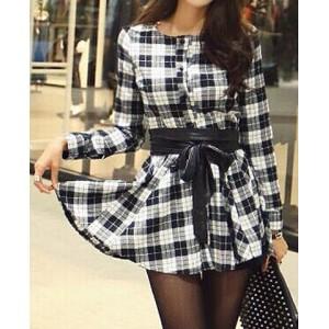 Fashionable Women's Jewel Neck Plaid Long Sleeve Dress checker