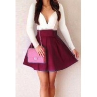 Fashionable Women's Plunging Neckline Color Block Long Sleeve Dress wine red