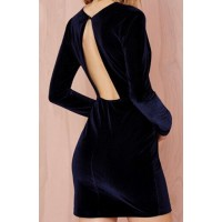 Fashionable Women's Plunging Neckline Long Sleeve Backless Dress blue