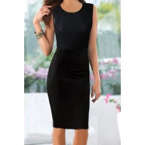 Fashionable Women's Scoop Neck Sleeveless Lace Splicing Dress black