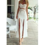 Fashionable Women's Spaghetti Strap Side Slit Lace Dress white