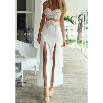 Fashionable Women's Spaghetti Strap Side Slit Lace Dress white