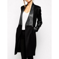 Fashionable Women's Turn-Down Collar Long Sleeve PU Leather Splicing Coat BLACK