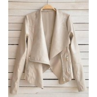 Fashionable Women's Turn-Down Collar Long Sleeve Zippered PU Leather Jacket apricot black
