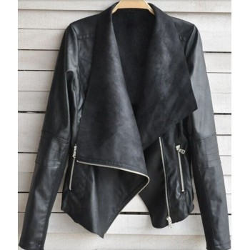 Fashionable Women's Turn-Down Collar Long Sleeve Zippered PU Leather Jacket apricot black