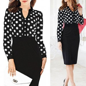 Formal Women's V-Neck Polka Dot Splicing High-Waisted Long Sleeve Dress black