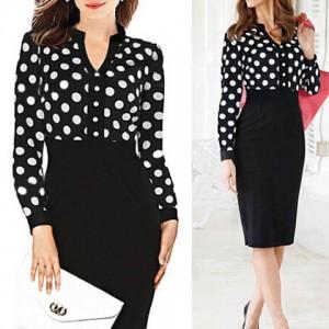 Formal Women's V-Neck Polka Dot Splicing High-Waisted Long Sleeve Dress black