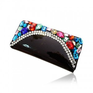 Gorgeous Women's Clutch Wallet With Rhinestones and Patent Leather Design black