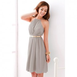 Graceful Off-The-Shoulder Solid Color Chiffon Dress For Women gray yellow