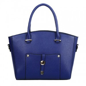 Graceful Women's Tote Bag With Rivets and PU Leather Design brown black blue gold