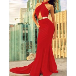 Halter Backless Solid Color Sexy Long Dress For Women red