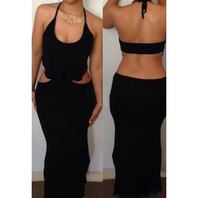 Halter Neck Sleeveless Backless Sexy Black Dress For Women black