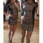 Jewel Neck Half Sleeves Leopard Print PU Leather Splicing Stylish Dress For Women