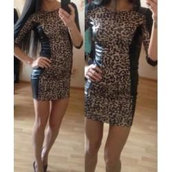 Jewel Neck Half Sleeves Leopard Print PU Leather Splicing Stylish Dress For Women