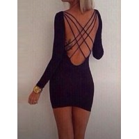 Jewel Neck Long Sleeves Backless Bandage Splicing Sexy Dress For Women black