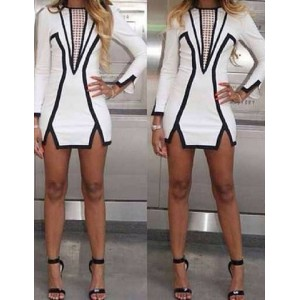 Jewel Neck Long Sleeves Hollow Out Slit Sexy Dress For Women white