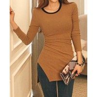 Jewel Neck Long Sleeves Solid Color Slit Stylish T-Shirt For Women gray khaki