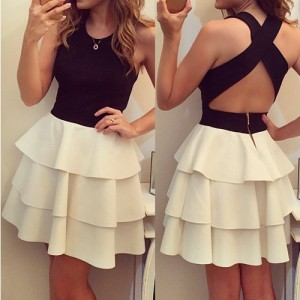 Jewel Neck Sleeveless Backless Color Splicing Multi-Layered Sexy Dress For Women black white