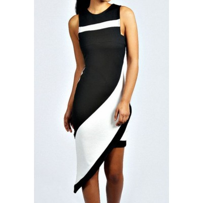 Jewel Neck Sleeveless Color Splicing Stylish Asymmetric Dress For Women black white
