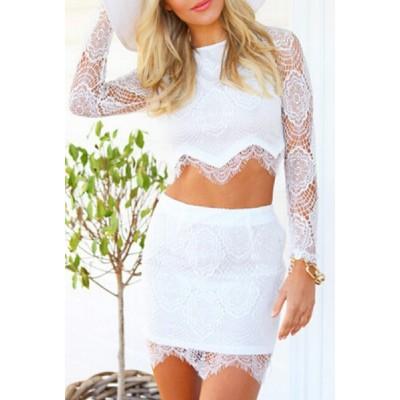 Lace Crochet Flower Stylish Round Neck Long Sleeve T-Shirt + Skirt Women's Twinset white