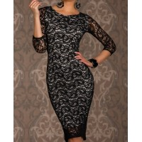 Laconic Scoop Neck 3/4 Sleeve Packet Buttock Lace Dress For Women black